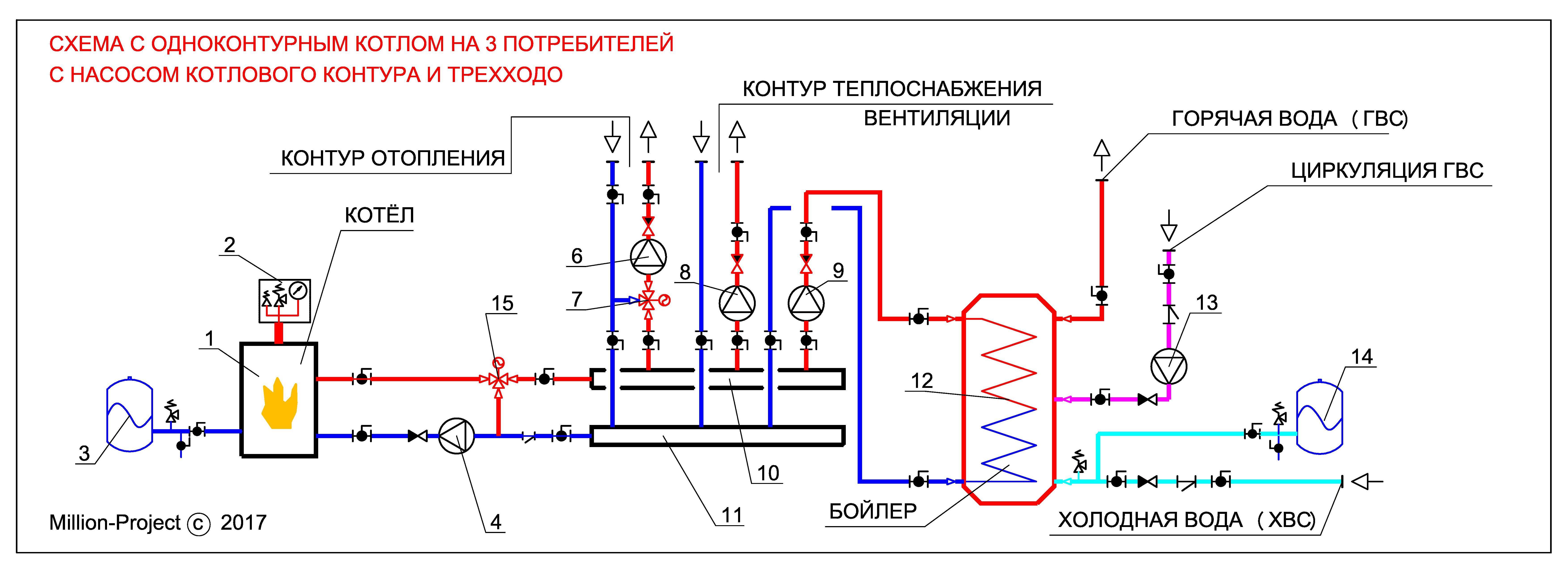 Схема отопления и гвс с тепловым насосом