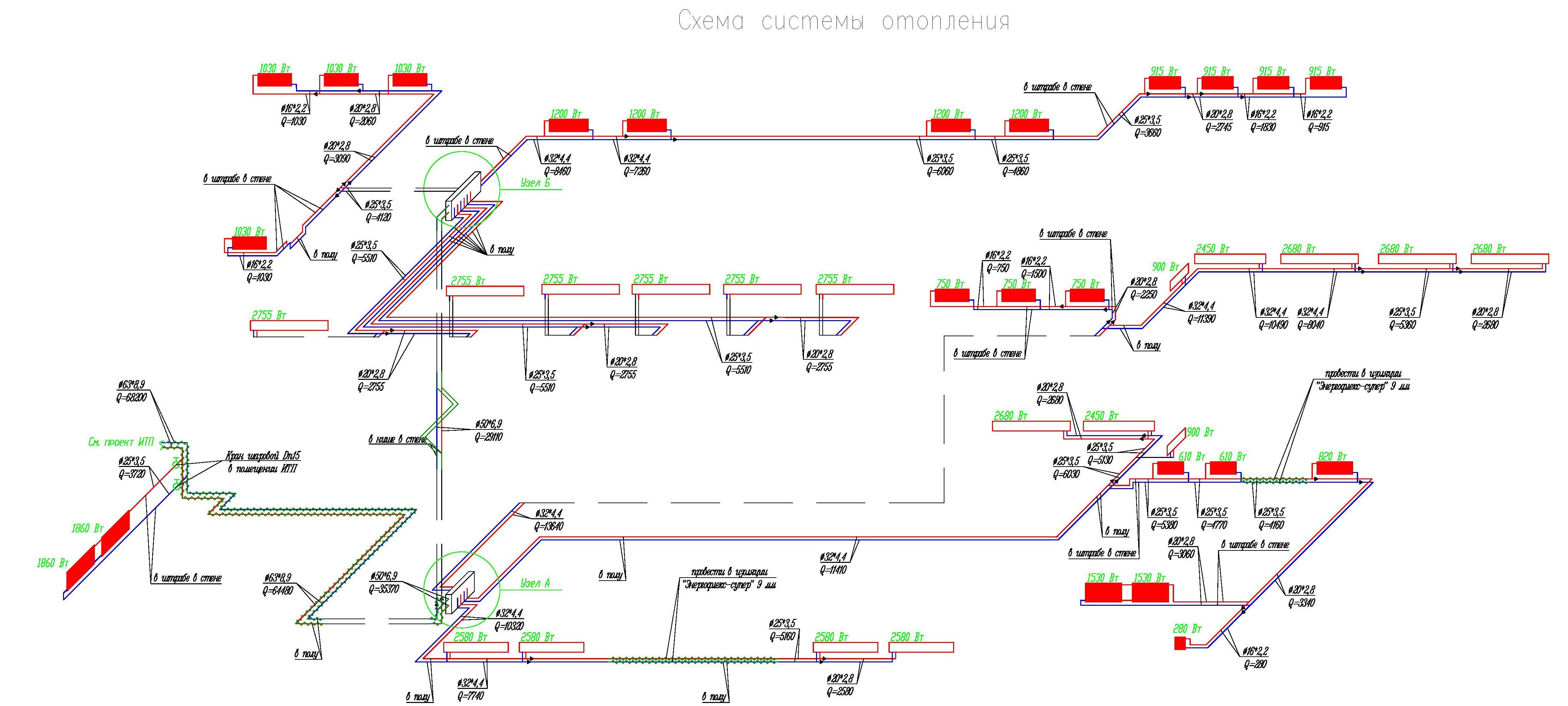 Проектирование отопления. Аксонометрия.