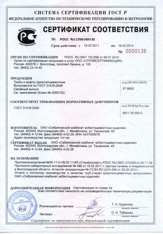 Труба хризотилцементная безнапорная сертификат